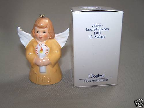 GOEBEL Annual Angel Bell 1988 Christmas Ornament Yellow MIB