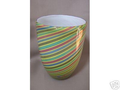 Murano Cenedese Vase Striped Signed New