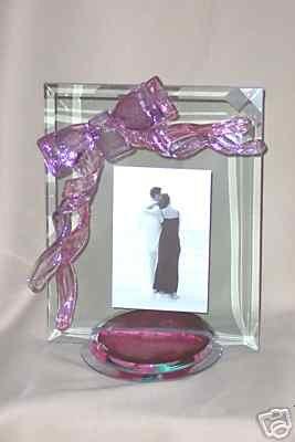 "Berni Art Glass Ribbon Drip Picture Frame 5"" x 7"" New"