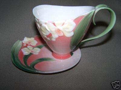 FRANZ Porcelain Winter Moth Orchid Cup Saucer New