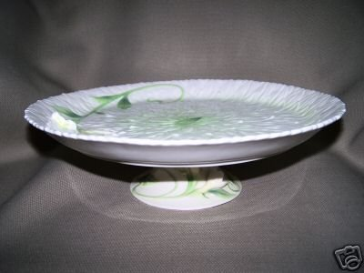 FRANZ Sculptured  Porcelain Garden Blessing Wedding Cake Plate Footed New