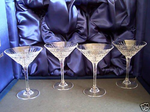 FABERGE Atelier Crystal Crown Martini Glasses Set/4 NIB