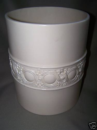 LABRAZEL White Bas Relief Waste Basket Italy New