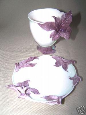 FRANZ Porcelain Basil Herb Cup Saucer Set New