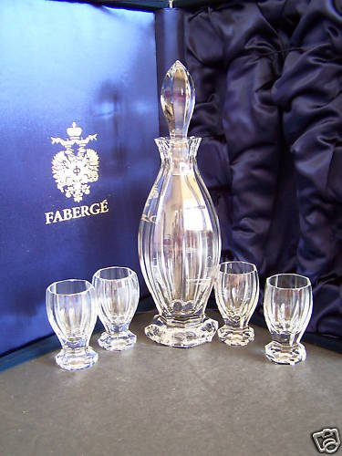 FABERGE Crystal Czarina Liqueur Set Decanter 4 Glasses NIB