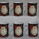 RALPH LAUREN Knockhill Tartan Red Mugs Set of 6 New