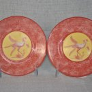 LYNN CHASE African Inspirations Saucer Cranberry/Yellow Set/2 New
