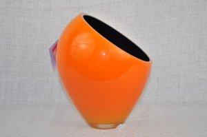 MURANO Art Glass Orange/Black Short Vase by Nason New
