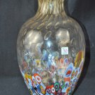 MURANO Art Glass Tall Clear Vase Murrine Controlled Bubbles Gambaro & Poggi New