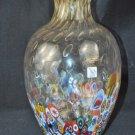 MURANO Art Glass Tall Clear Vase Murrine Controlled Bubbles Gambaro & Poggi New