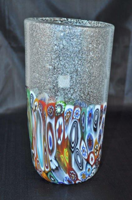 Murano Art Glass Vase Clear Murrine Silver Dust Bubbles