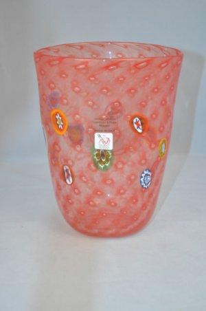 """MURANO Art Glass Red Vase Murrine Controlled Bubbles Gambaro and Poggi  8""""  New"""
