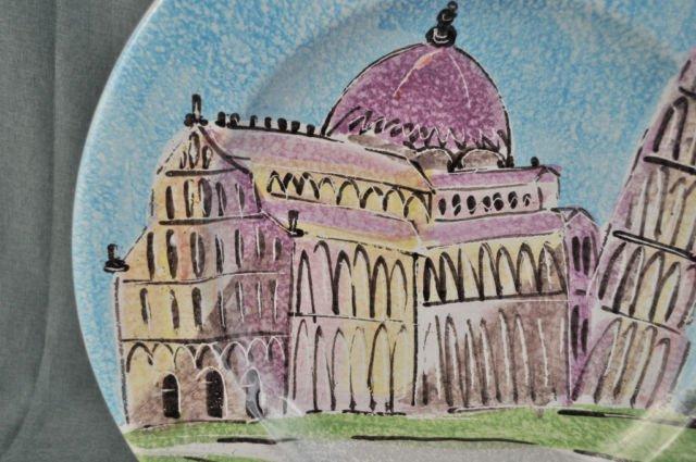 ITALIAN Art Pottery Decorative Round Platter Hand Painted New