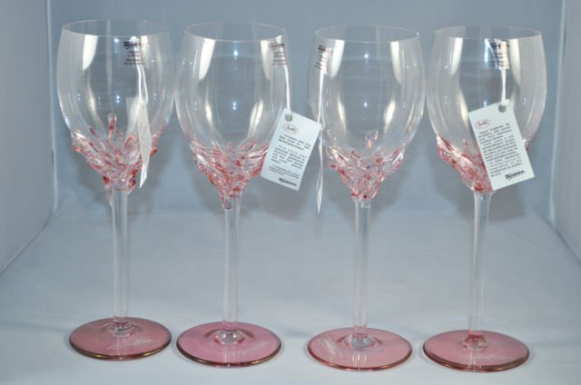 Ion Tamaian Art Glass Wine Glasses Set 4 Pink Signed
