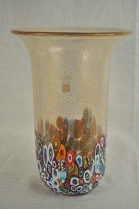 MURANO Art Glass Vase Clear Murrine Gold Dust  Gambaro & Poggi Flared