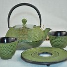 RIKYU Cast Iron Tetsubin Teapot  2 Cups Trivet Set Green Hobnail New