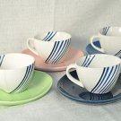 DIANE VON FURSTENBERG DVF Streamline Demitasse Espresso Cup & Saucers Set/4 New
