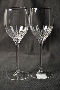 WEDGWOOD Vera Wang Crystal Duchesse Platinum Wine Glasses Set/2 New