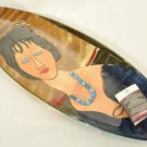 SEBINO ARTE Oval Platter Fused Glass Modigliani Painting Hebuterne Hand Made New