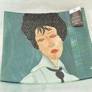 SEBINO ARTE Square Platter Fused Glass Modigliani Woman Black Tie Hand Made New