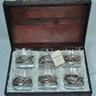 ANORINVER  Art Glass DOF Glasses Set/6 in Trunk Box Spain Hand Crafted NIB