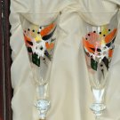 ANORINVER  Art Glass Champagne Flutes Set/2 in Trunk Box Spain Hand Painted  NIB