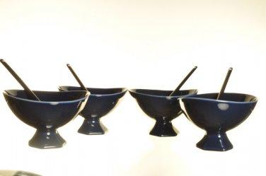 DIANE VON FURSTENBERG DVF Pebblestone  Cobalt Blue Dessert Bowl/Spoon Set/4 New