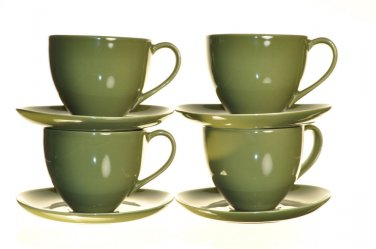 DIANE VON FURSTENBERG DVF Pebblestone  Avocado Green Tea Cup/Saucers Set/4 New