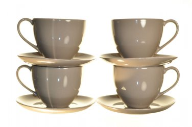 DIANE VON FURSTENBERG DVF Pebblestone Taupe Tea Cup/Saucers Set/4 New