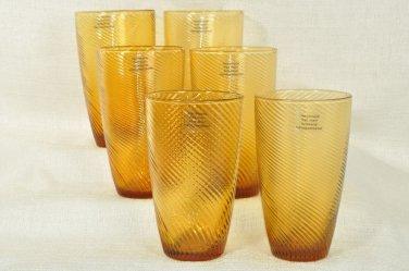 DIANE VON FURSTENBERG DVF Home Twirl Amber Hi Ball Glasses Set of 6 New