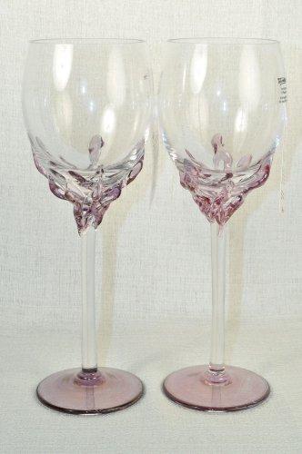 ION TAMAIAN Art Glass Wine Glasses Purple Set/2 Signed  Romania New