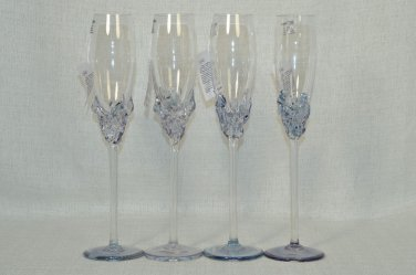 ION TAMAIAN Art Glass Champagne Flutes Metallic Blue Set/4 Signed Romania New