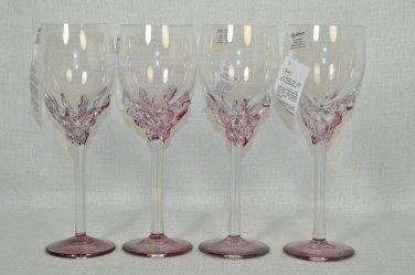 ION TAMAIAN Art Glass Wine Glasses Purple Set/4 Signed  Romania New