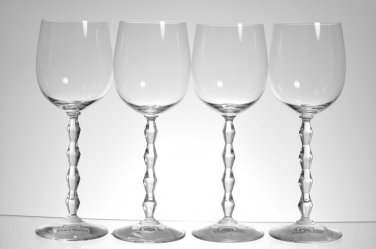 WEDGWOOD Vera Wang Crystal Orient White Wine Glass Set/4 New
