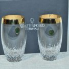 WATERFORD Crystal Lismore Essence Wide Gold Band Hi Ball Glass Set/2  NIB