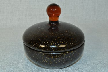 LABRAZEL Brown Gold Sparkles Glass Covered Jar Canister Italy New