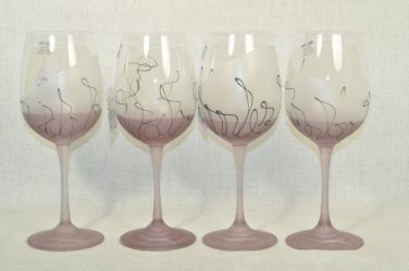 ION TAMAIAN Art Glass Large Goblet Purple Set/4 Signed Romania New
