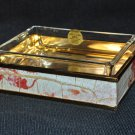 LABRAZEL Crocodile Floral Embossed Leather Soap Dish Hand Made Italy New
