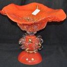 ION TAMAIAN Art Glass Hand Blown Red/Orange Vase Fused Glass Romania New