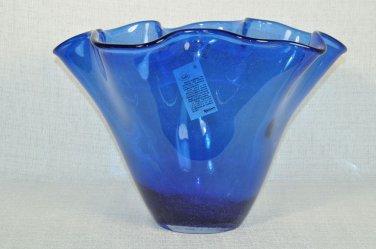ION TAMAIAN Art Glass Hand Blown Blue Handkerchief  Vase Romania New