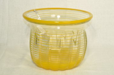 ION TAMAIAN Art Glass Hand Blown Yellow Striped Vase Romania New