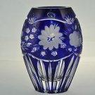 CRYSTAL Diamond Cut Cobalt Blue Vase Cased Hungary New