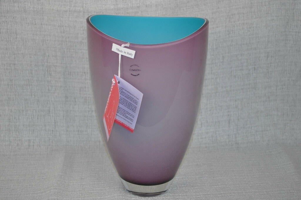 MURANO Art Glass Amethyst/Turquiouse Wide Vase Nason New
