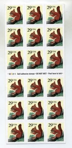 Scott #2489 Red Squirrel 18 x 29¢