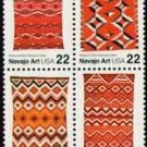 Scott #2238a Navajo Art stamp block of 4 x 22¢