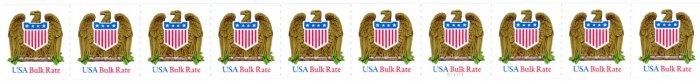 Scott #2603 Eagle and Shield multicolored Bulk Rate strip of 10 x 10¢