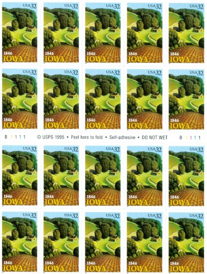 Scott #3088 Iowa Statehood � 150th Anniversary sheet 20 x 32¢
