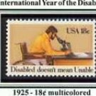 Scott #1925 International Year of the Disabled – Disabled doesn't mean Unable single stamp 18¢