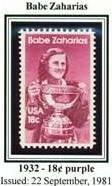Scott #1932 Babe Zaharias single stamp 18¢