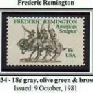 Scott #1934 Frederic Remington – American Sculptor - single stamp 18¢